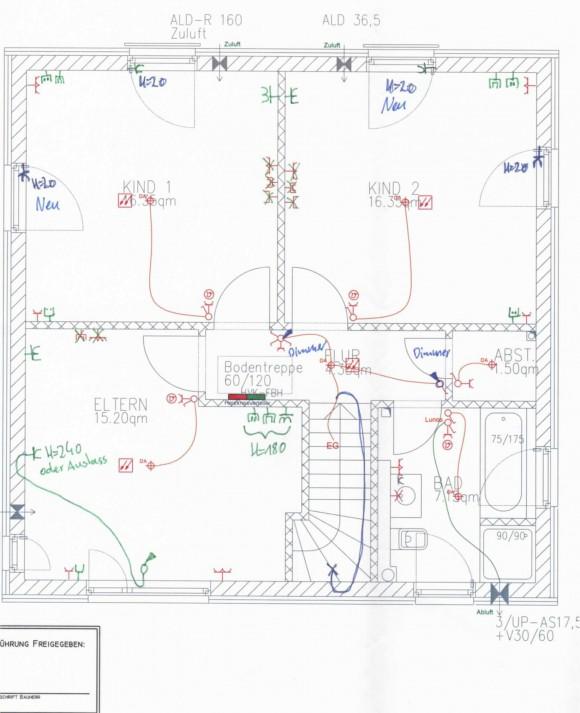 Elektroplan Obergeschoss (Steckdosen, Schalter, Dimmer, Auslässe)